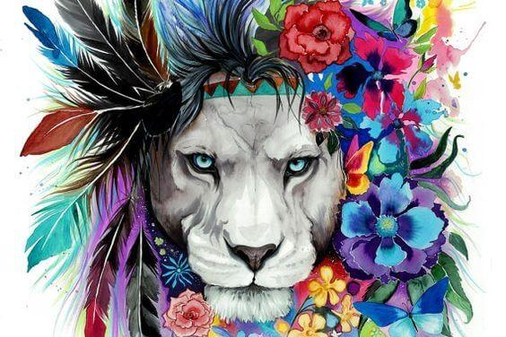 カラフルな花の鬣のライオン