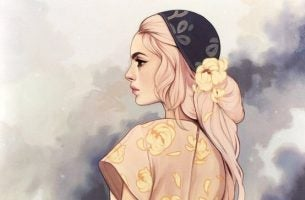 ピンクの髪の女性の横顔