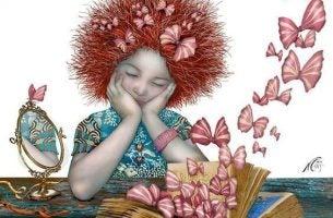 女の子と本から飛び出す蝶