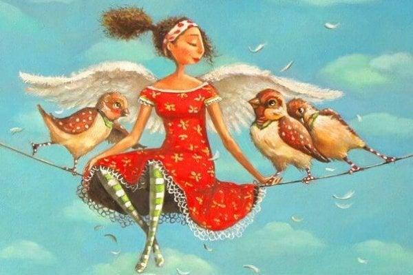 翼の生えた女の子と三羽の鳥