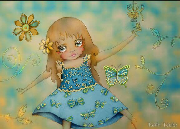 蝶と青いドレスの女の子