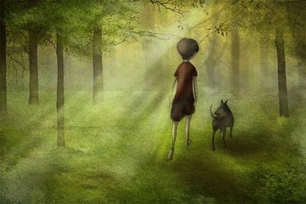 森を歩く犬と少年