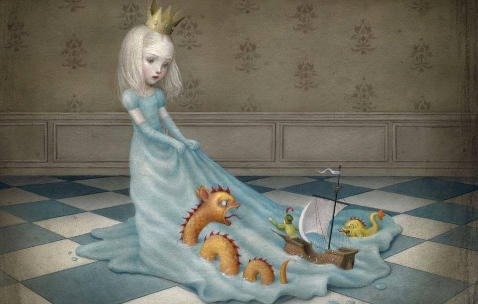 お姫様のドレスを泳ぐ怪獣と船乗り