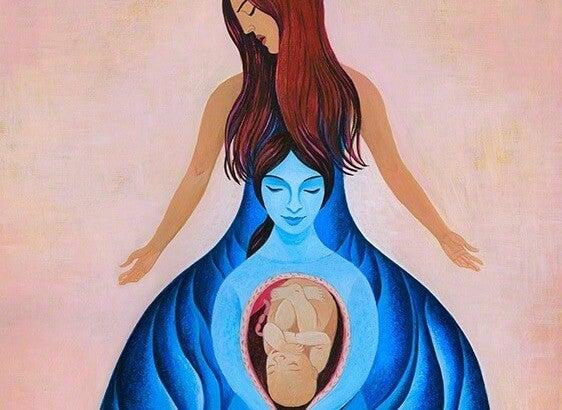 身ごもった子供と母親の絆