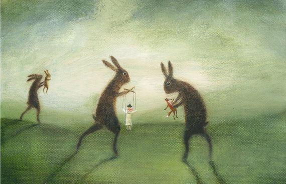 操り人形を持つウサギ