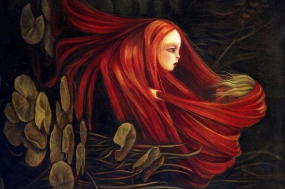 湖から浮かぶ赤毛の女性