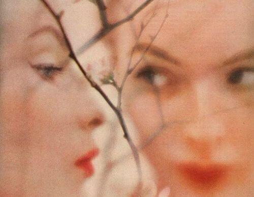 木の枝と女性の顔