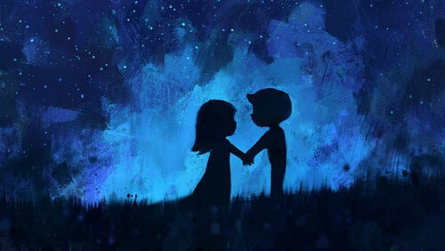 夜空の中で手を取り合う二人