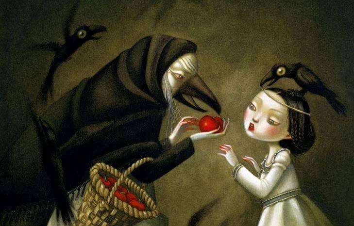 毒リンゴを渡す魔女と白雪姫
