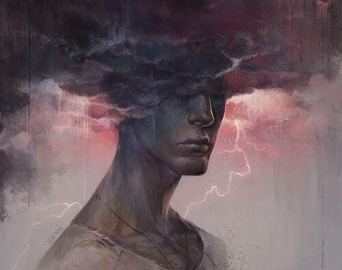 雲に目が隠れた男の人の像