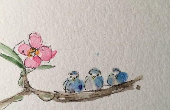 花と三羽の鳥