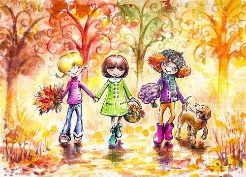 森の中の3人の友達