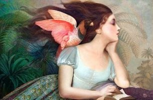 肩に鳥を乗せた少女