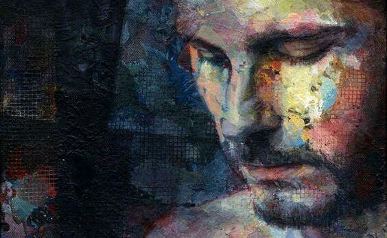 うつむく男性の肖像