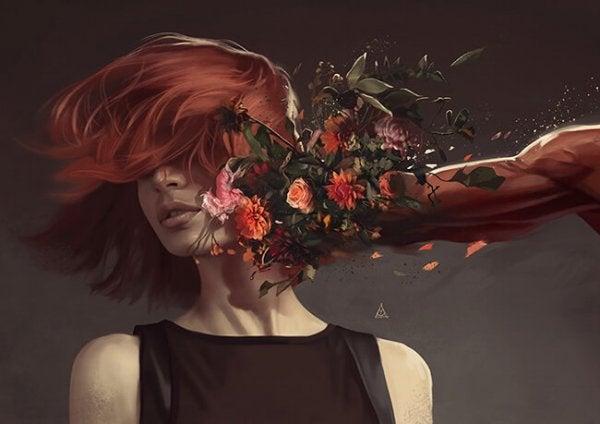 女性の顔を殴る花のこぶし