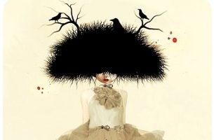 頭が鳥の巣の女性