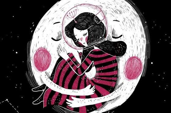 月に抱かれる女性