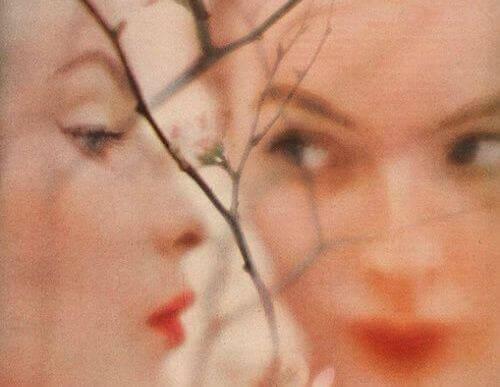 木の枝と二人の女性の顔