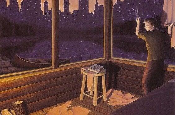 カーテンを切って夜の景色を見る