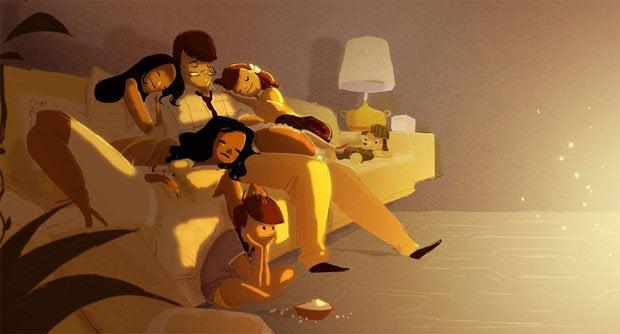 ソファーで眠る家族