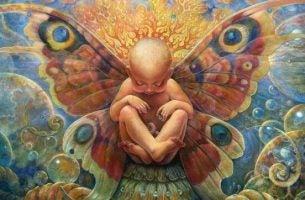 蝶の羽を持つ赤ちゃん