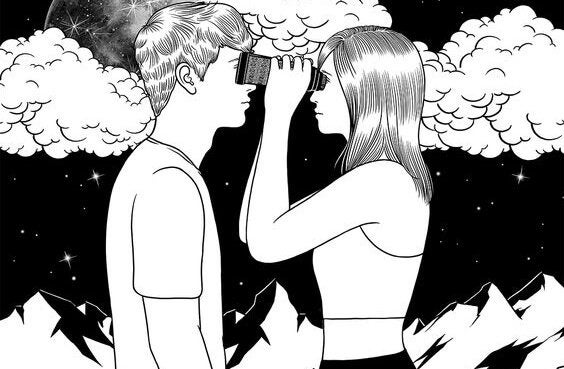 望遠鏡でお互いを覗くカップル