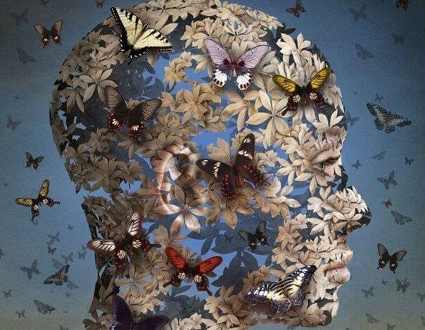 花と蝶でできた人の頭