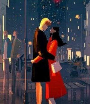 街中のカップル