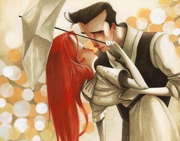 白い傘のカップル