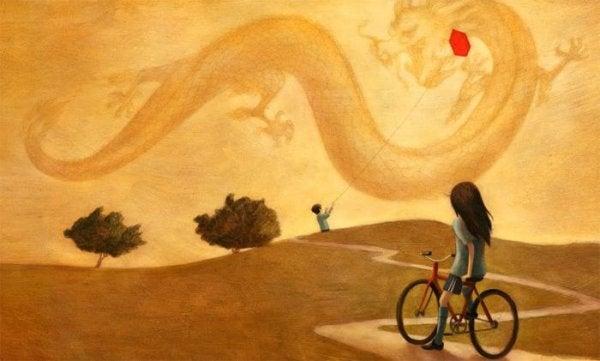 空を飛ぶドラゴン