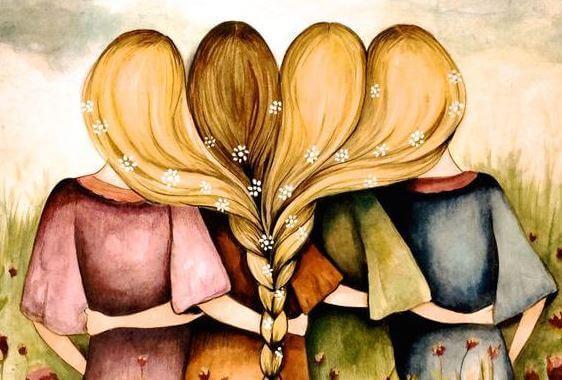 髪を一つに束ねる姉妹