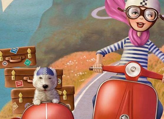 バイクに乗る少女と犬