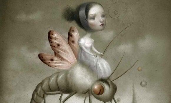 虫に乗っている女の子
