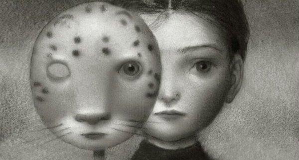 女の子と虎の仮面