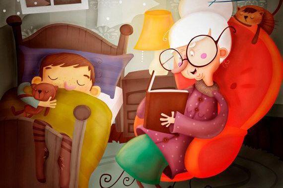 本を読み聞かせするおばあちゃん