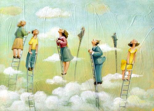 梯子で空へ上る人々