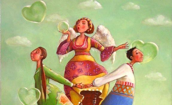 ハート型のシャボン玉を吹く天使