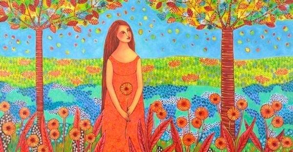 花と木に囲まれた女性