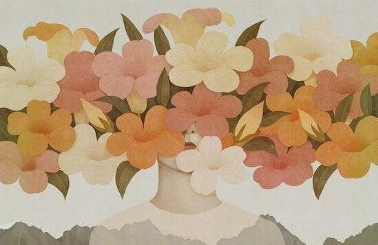 花で隠れた顔