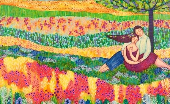 花畑のカップル