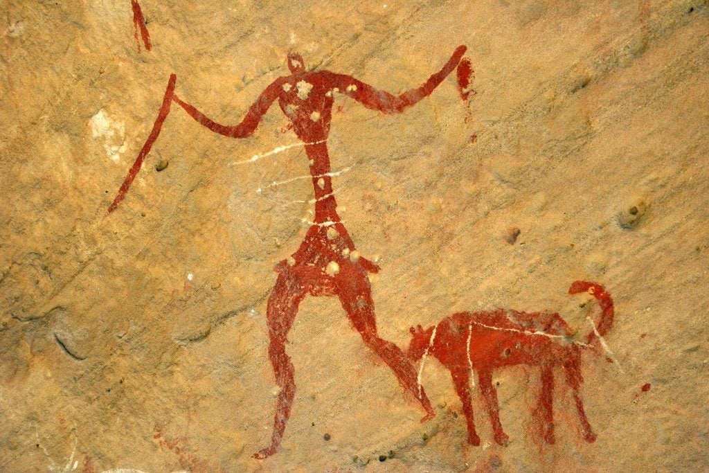 犬と人間の壁画