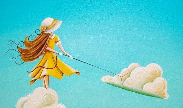 雲を引っ張る少女