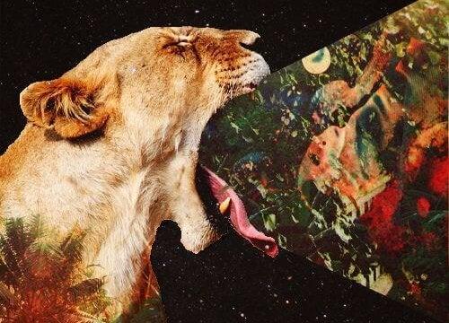 口を開けるライオン