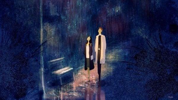 雨空を見上げる二人