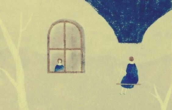 窓から除く女の子とブランコに乗る女の子