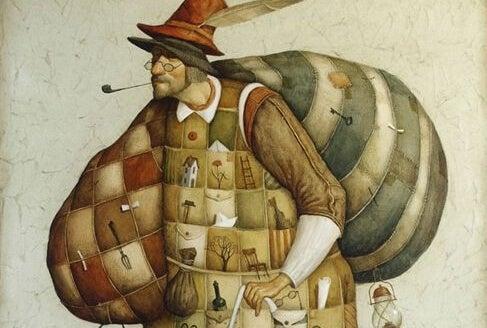 キルトの服を着たパイプを吸う男性