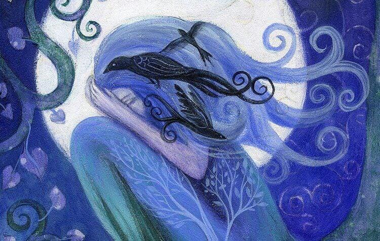 夜空の青い女性と鳥