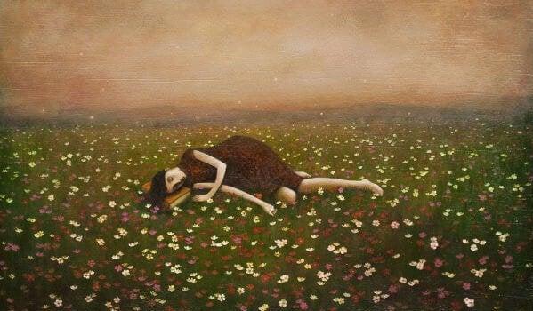 花畑に眠る少女