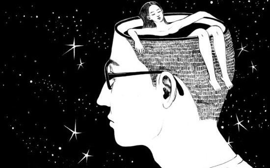 男性の頭の湯船につかる女性
