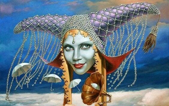 女王の顔と蓄音機から飛び出る傘